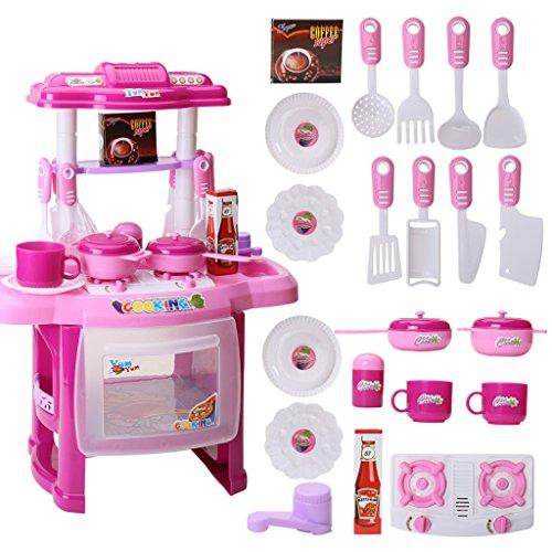 Juguetes de cocina para bebés en miniatura de cocina de plástico para juegos de simulación de alimentos para niños juguetes con música luz para niños Juego de juguetes para niñas (color: rosa)
