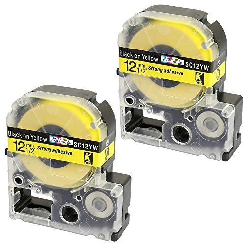 2 x Schriftband-Kassetten SC12YW LC-4YBW LC-4YBW9 schwarz auf gelb (12mm x 8m) kompatibel für Epson LabelWorks LW-300 LW-300L LW-400 LW-500 LW-600P LW-700 LW-900P LW-1000P KingJim TepraPro SR950 SR750