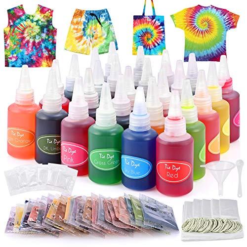 GOLDGE Tie Dye Kit 26PCS Textilfarbe Waschmaschinenfest Batikfarben Set für Kinder Erwachsene DIY-Projekte Partyaktivitäten Stoff Textil Farben Ideal Wahl für Modeliebhaber
