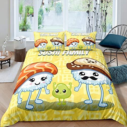 Loussiesd Juego de ropa de cama de sushi para niñas y niños, estilo japonés, funda de edredón de estilo japonés, funda de edredón para familia de sushi, tamaño individual, 2 unidades