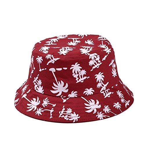 HugeStore HugeStore Unisex Kokosnussbaum Muster Sonnenhut Bucket Hat Fischerhut Sommerhut Sonnenhuete Strandhut Schlapphut Rot