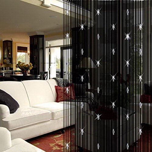 String Curtains Black Beads Curtain Doorway Tassel Curtain Thread Fringe Crystal Door String Curtain Beads Room Divider Curtain Window Panel for Home Decoration (3.28 X 6.56 ft)