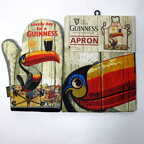 McLaughlin's Irish Shop Guinness Toucan Grill Textilien Set Handschuh und Schürze