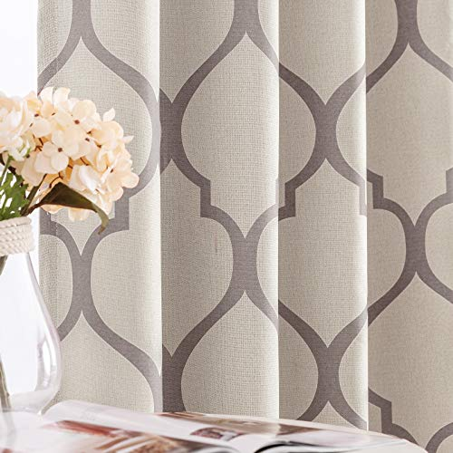 jinchan Moroccan Tile Linen Textured Curtains Printed Curtain Panel Bedroom Living Room Thermal Insulated Window Treatment 1 Panel 45 Inch Grey