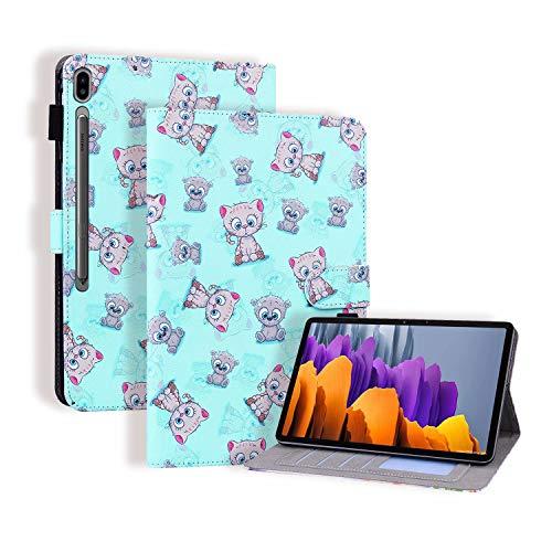 Miagon Hülle für Samsung Galaxy Tab S7 11 Zoll T870 / T875 2020,Pu Leder Schutzhülle Case Cover mit Kartensteckplatz Ständer Funktion,Katze Bär
