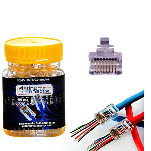 Platinum Connector cable connector RJ45 8P8C CAT6 - End pass through Ethernet one-Piece High Performance modular plug (50 Pieces)
