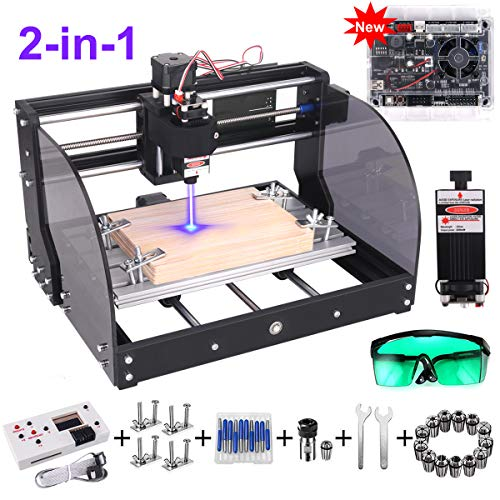 2-in-1 2500MW Laser Engraver CNC 3018 Pro-M Engraving Machine, GRBL Control 3 Axis DIY Mini CNC Machine Wood Router Engraver with Offline Controller + ER11 Extension Rod + CNC Router Bits