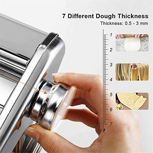 Pasta Maker Machine Hand Crank - Stainless Steel Roller Cutter Manual Noodle Makers  Making Tools Rolling Press Kit Kitchen Accessories Best for Homemade Noodles Spaghetti Fresh Dough