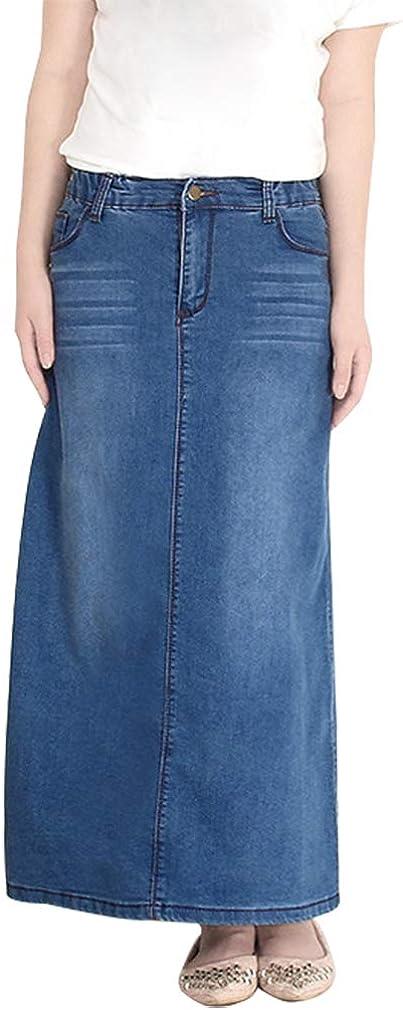 Chowsir Women Casual Stretch Waist A-Line Jeans Long Denim Skirt