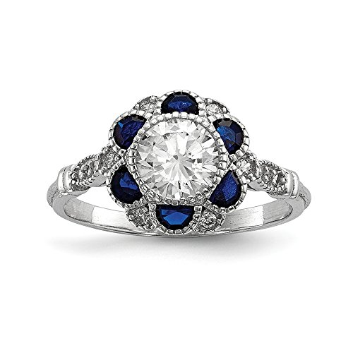 925 Sterling Silver Cubic Zirconia Cz Synthetic Blue Sapphire Flower Band Ring Size 6.00 Flowers/leaf Fine Jewelry For Women Gifts For Her