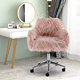 HomVent Faux Fur Accent Chair, Cute Modern Shaggy Faux Fur Swivel Chair Makeup Stool, Height Adjustable Home Office Desk Chair Plush Vanity Stool for Bedroom/Living Room (Pink)