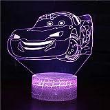 Coche de dibujos animados brillante LED, luz visual 3D decoración creativa lámpara de mesa pequeña base de grietas de acrílico multicolor pequeña luz de noche creativa lámpara de mesa pequeña