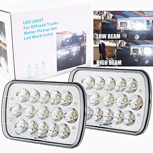 H6054 Led Headlights, Hi Low Sealed Beam 5x7 Headlights for H5054 H6054LL H6014 69822 6052 6053 Che-vy Van Je-ep Xj Yj Chero-kee Bl-azer Express F-ord E250 Ta-coma 88-95 Pickup