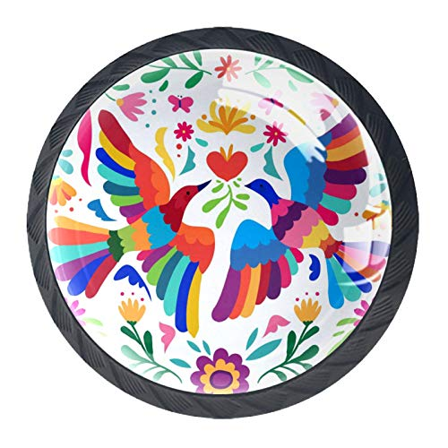 Pomo de armario Acuarela Flor Pájaro Pomos Redondos, 4 x Tirador de Cocina, Tiradores Muebles para Armario, Puerta Armario, Gabinete, Cajón, Puertas de Muebles, Zapateros 35mm