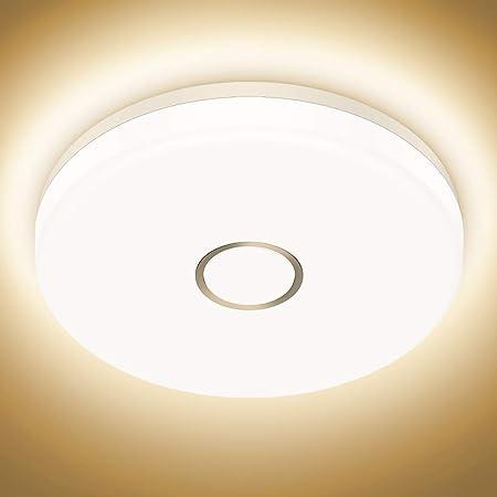 Onforu 32W 3200LM Plafonnier LED, 2700K Blanc Chaud Lampe de Plafond,IP54 Imperméable Moderne Rond Plafonnier 28,6cm, IRC90+ Luminaire Plafonnier Salle de Bains pour Salon, Cuisine, Chambre, Balcon