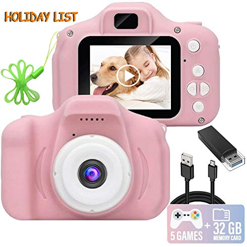 Kids Camera, 1080P FHD Digital Video Recorder Shockproof Action Cameras with 2 Inch IPS Screen and 32GB SD Card for Girls Boys Gifts Pink