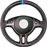 HCDSWSN Daim Noir en Cuir véritable Bricolage Housse de Volant de Voiture Cousu Main pour BMW E39 E46 325i E53 X5