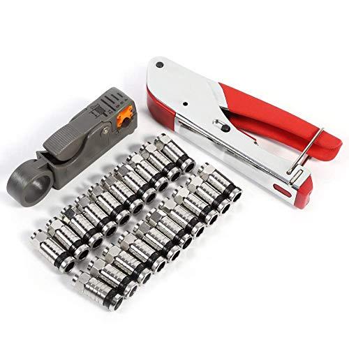 ZFFSC Tastatur OUMEFAR Coax Connector Kit 20 stücke Stecker Kompressionswerkzeuge Koax Crimpwerkzeuge F-Typ für RG6 RG59 RG58 Tastatur