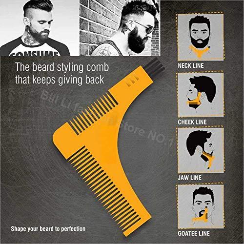 Generic Beard Bro Hair Trimmers Beard Shaping Styling Man Gentleman Beard Trim Template hair cut molding Hair clipper beard modelling Yellow-With Box