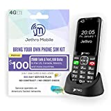 Jethro [SC490] 4G/LTE Unlocked Bar Style Cell Phone for Seniors and Kids with 365 Days Plan, Large Screen & Big Buttons, Hearing Aid Compatible, Charging Dock, FCC & IC Certified.