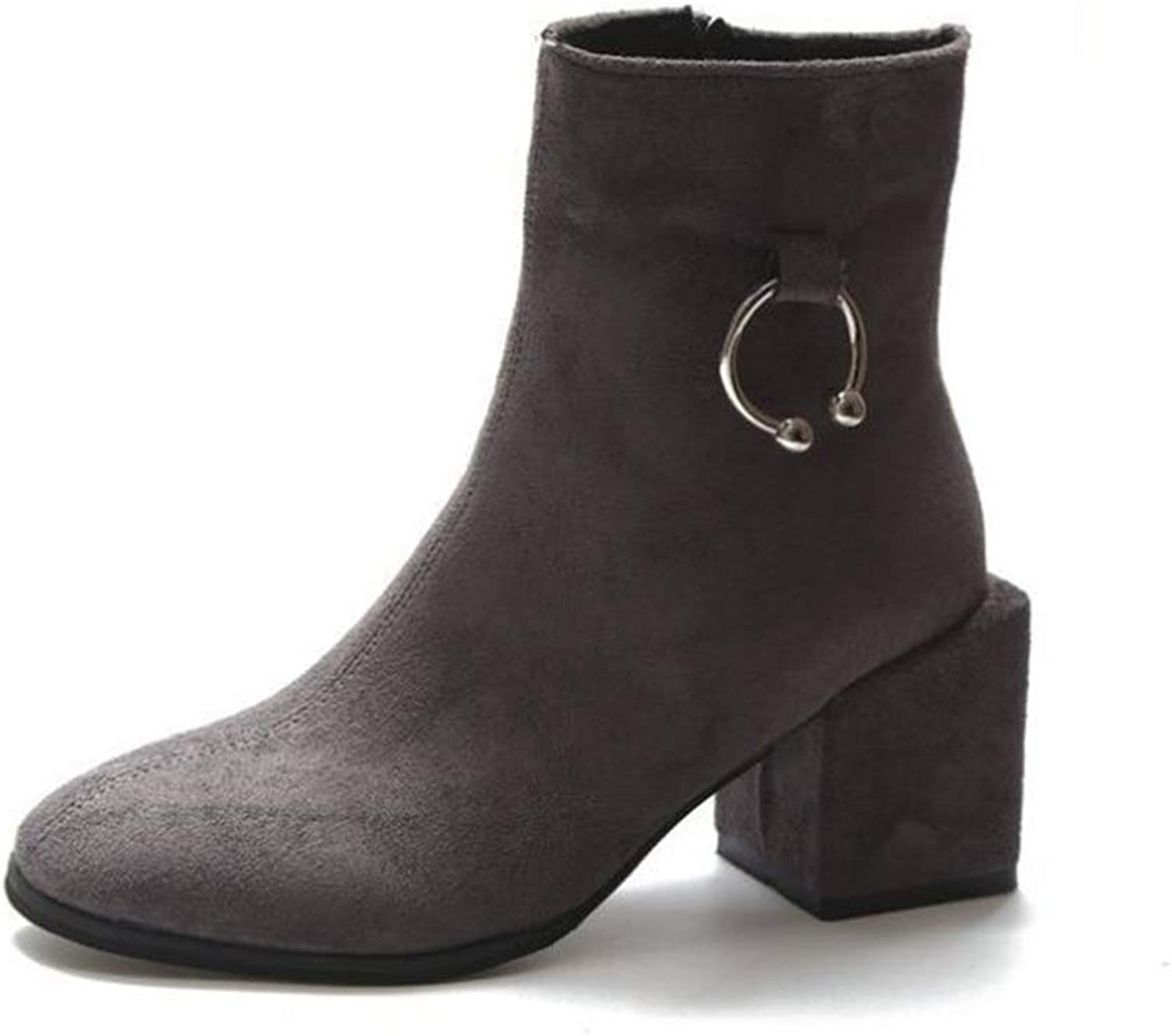 FORTUN New mid-Heeled Snow Boots Women's Thick Martin Boots Ankle Boots