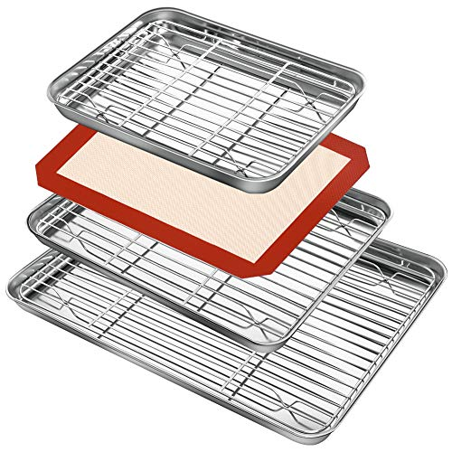 Baking Sheet Rack Set (3 Sheets + 3 Racks + 1 Silicone Baking Mats), Stainless Steel Baking Pan Cookie Sheet with Rack and Silicone pad for Baking Use, Rust Free, Easy Clean, Dishwasher Safe