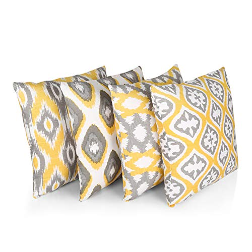 """Penguin Home 100% Cotton Decorative Double Sided Square Cushion Covers with Invisible Zipper 45cm x 45cm x 18"""" (Set of 4, Yellow/Grey Pattern), 45 X45 X1 cm"""