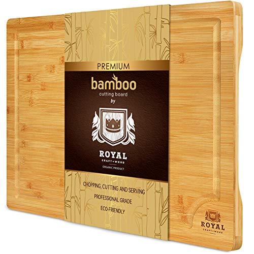 Organic Bamboo Cutting Board with Juice Groove - Kitchen Chopping Board for Meat (Butcher Block)...