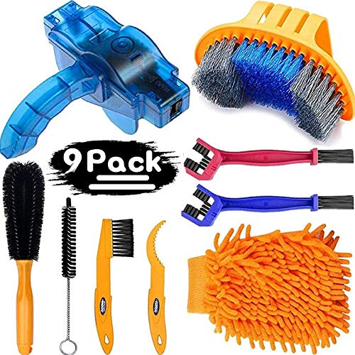 focopot Bicycle Cleaning Tools Set (9PCS), Bike Clean Brush Kit Including Bike Chain Scrubber for Mountain, Road, City, Hybrid, BMX and Folding Bike