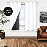 WONTEX 100% White Blackout Curtains for Bedroom 42 x 63 inch Length - Winter Thermal Insulated, Energy Saving, Sun Blocking Lined Window Curtain Panels for Living Room, Set of 2 Grommet Curtains