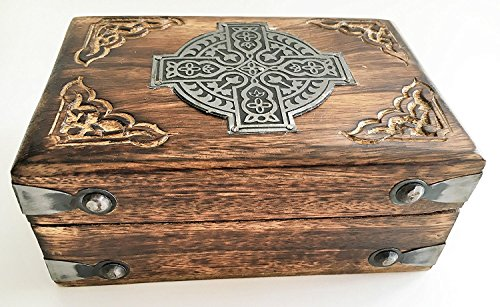 Wooden Carved Celtic Box W/Metal Cross-Trinket/Keepsake/Storage Box 6'x 4' WB438 Metal Cross