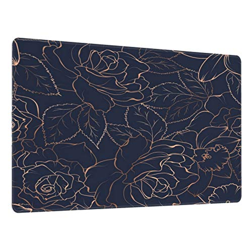 Gold Rose in Navy Blue Pattern Mouse Pad Large Gaming Mousepad Extended Desk Mat Long Non-Slip Rubber Desk Pad for