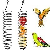 Comedero Porta Frutas Cesta De Comida para Loros Comedero De Fruta Colgante Cesta para Pájaros Juguete De Alimentación para Pájaros Comedero para Pienso para Pájaros Juguete Pájaro Cockatiel,2 Piezas
