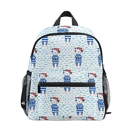 Süßer Kinderrucksack Schultaschen für Mädchen Piratenkatze in Blau Seemann Anzug Marine Style Kinder Schulrucksack Büchertasche