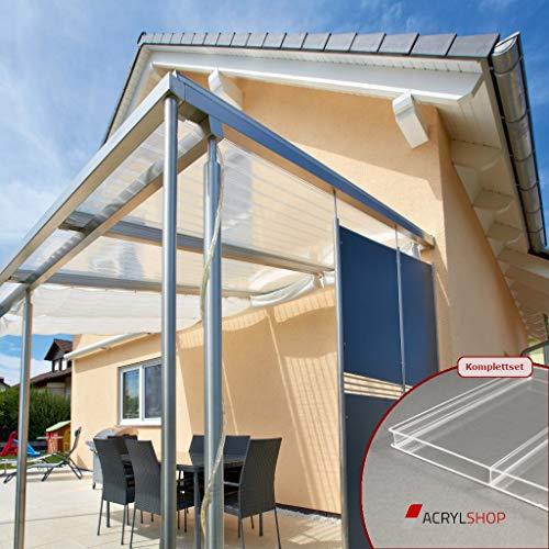 Terrassendach Terrassenüberdachung Carport Komplettset Acrylglas 16/96 Farblos Stegplatten Tiefe:3500mm|Breite:2080mm - Mehrere Maße verfügbar