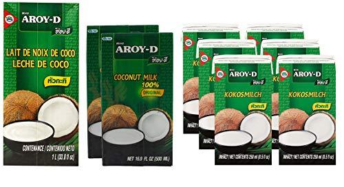 Lait de coco Aroy-D sans conservateur Offre d'essai, 1 x 1000 ml, 2 x 500 ml, 6 x 250 ml à un prix spécial
