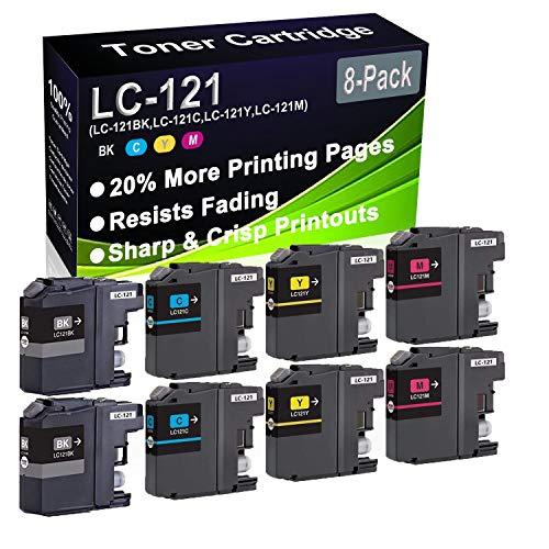 Paquete de 8 cartuchos de tinta (2BK+2C+2Y+2M) remanufacturados DCP-J132W DCP-J152W (alta capacidad) de repuesto para Brother LC-121 LC121 (LC-121BK LC-121C LC-121Y LC-121M)