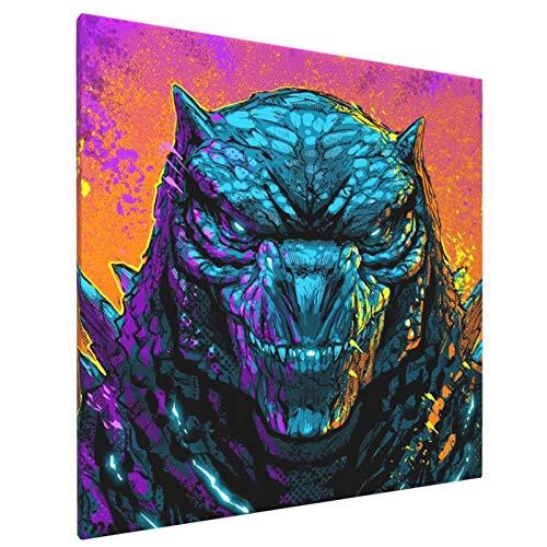 Godzilla VS Kong Poster 2021 - Póster de película con impresión de cómics, lienzo para decoración de la pared del dormitorio, colorido y fresco, regalos de cumpleaños para niños