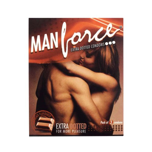 Manforce Extra Dotted Condoms -Chocolate Flavoured (Pack of 3 Condoms)