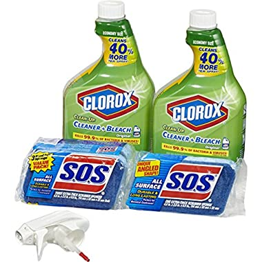 Clorox Clean-Up Bleach Cleaner Spray and S.O.S All Surface Scrubber Sponge Value Pack – Two 32 Ounce Bottles and 4 Sponges
