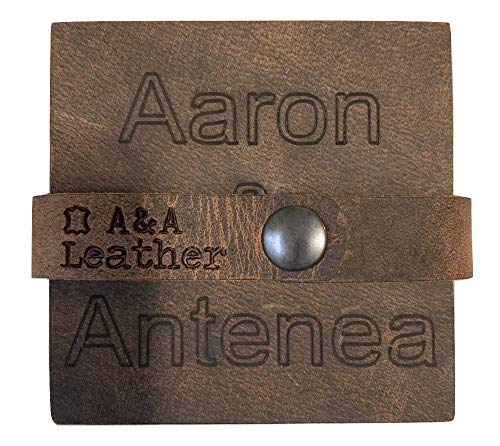 A&A Leather Coasters for Drinks - Pack of 4 Personalized Coasters for Coffee Table - 4x4 - Engraved Monogram Genuine Leather Personalized Gifts For Couples - Great for Housewarming or Anniversary