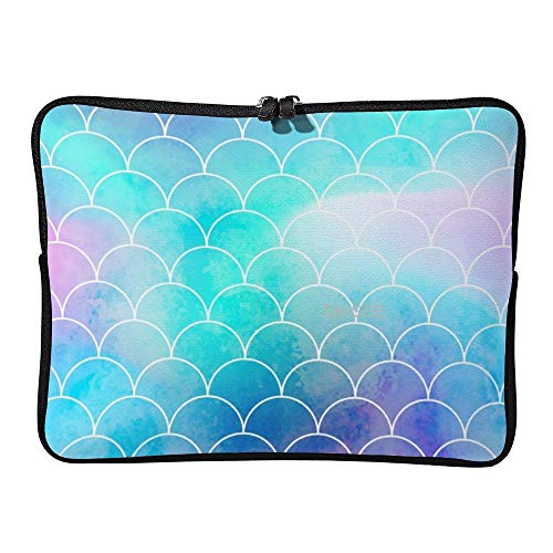 DKISEE Mermaid Scale Laptop Sleeve for Women Men, Compatible with 17 Inch MacBook Air/MacBook Pro Notebook Two-way Zippers Laptop Carrying Bag Case Cover, SDS203