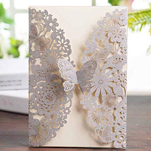 Wishmade Silber Glitter Hochzeitseinladungen Karten mit 20x Lasercut Schmetterling Spitze Blume Design Für Geburtstag sfeier Quinceanera Sweet inkl Umschläge (Silver Glitter)