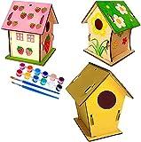 LXNQG DIY Birdhouse Kit para niños, Conjuntos de Colgantes de Bungalow de Nido de pájaros de Madera con 12 Colores Pinturas y 2 Pinceles, Construir y Pintar su Propio Regalo de cumpleaños de Artes de