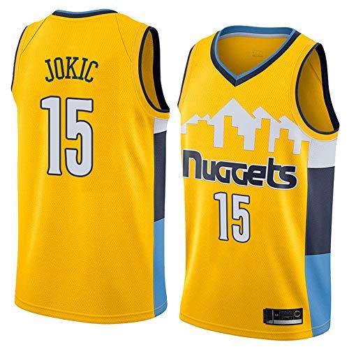 LITBIT Baloncesto para Hombre NBA Jersey Vintage Denver Nuggets 15# JÓGICO TRAVANTE ROMPLETLE SECUSO RÁPIDO Vestido sin Mangas Top para los Deportes,Amarillo,XL