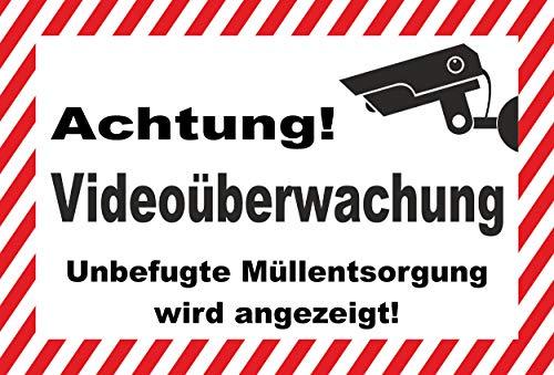 KE-Partyzubehör Schild 30x20cm Video-überwachung Müll-entsorgung - 3mm Aluverbund - 20 Varianten