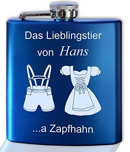 Flachmann Dirndl und Lederhose Gravur mit persönlichem Text | Namen graviert und personalisiert | blau oder rot metallic
