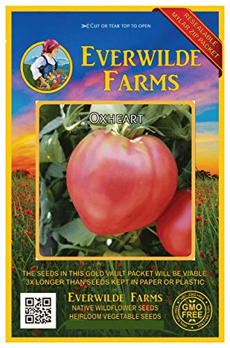 Everwilde Farms - 100 Oxheart Tomato Seeds - Gold Vault Jumbo Seed Packet