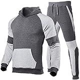 Chándal deportivo para hombre de 2 piezas, sudadera con capucha de manga larga + pantalones con cordón, ropa para correr, entrenamiento, casual, fitness gris oscuro M