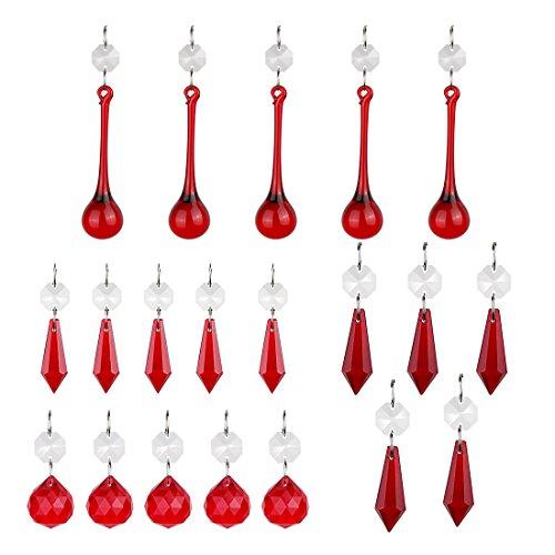 Desconocido H&D - Colgante de Cristal Rojo con Forma de círculo para lámparas de araña, prismas, lámparas, portavelas, Cortinas, Piezas de Bricolaje, Paquete de 20